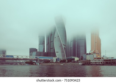 Skyscrapers of Moscow city in fog