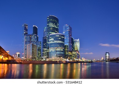 Skyscrapers of Moscow City at night. Russia.