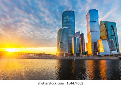 Skyscrapers of Moscow City at sunset
