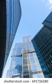 Skyscrapers of Moscow International Business Center. Bottom-up view