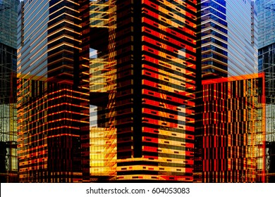 Skyscrapers / multistory office buildings by night and by day. Contemporary architecture. Modern cityscape fragment. Reworked photo of downtown business district.