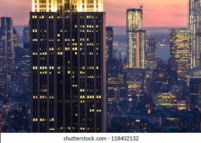 skyscrapers in New York after sunset