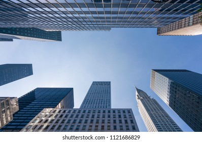 Skyscrapers in New York City against clear blue sky