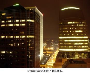 Skyscrapers in the night, Des Moines, Iowa