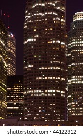Skyscrapers - office buildings in downtown toronto at night time - urban landscape