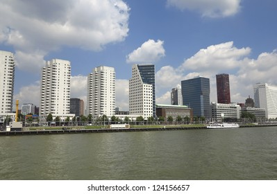 Skyscrapers on the rivershore in Rotterdam