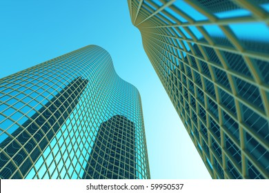 Skyscrapers on sky background