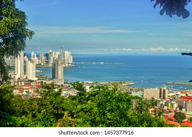 Skyscrapers of Panama city viewed from Ancon hill. View of Panama City from Ancon hill,