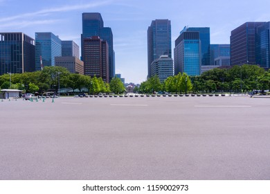 Skyscrapers and People in the City of Tokyo in Japan 2018.