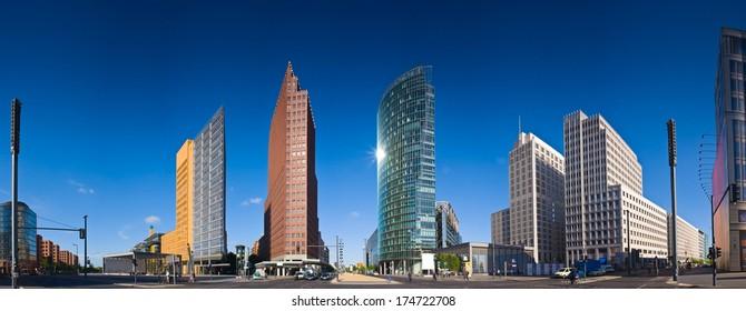 Skyscrapers of the Potsdamer Platz district, symbolizing Berlin's regeneration.