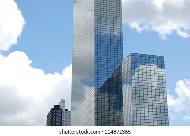 Skyscrapers Reflection with Blue Sky and Clouds, Rotterdam