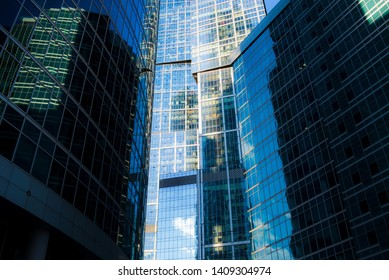 Skyscrapers reflection buildings. Abstract technology background.