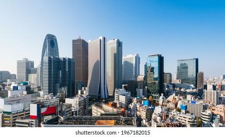 Skyscrapers of the Shinjuku city skyline, Shinjuku, Tokyo, Japan