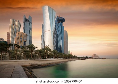 The skyscrapers at skyline of the center of Doha, Qatar, during sunset