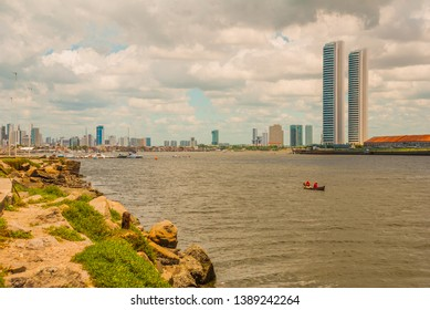 Skyscrapers. The skyline of the historic city of Recife in Pernambuco, Brazil by the Capibaribe river. Recife, Pernambuco, Brazil