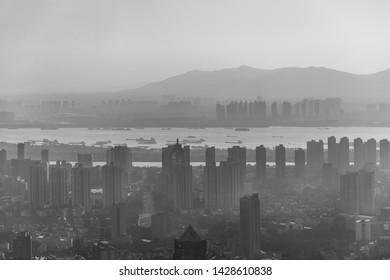 Skyscrapers and skyline view of Nanjing downtown with Yangtze River, Nanjing, Jiangsu province, China