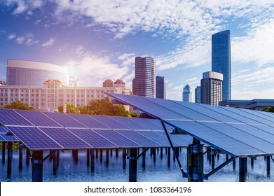 Skyscrapers and solar panels,