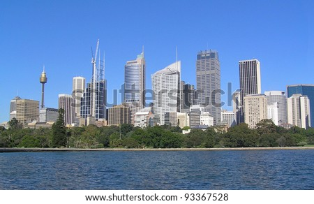 Skyscrapers of Sydney. Clear blue sky.