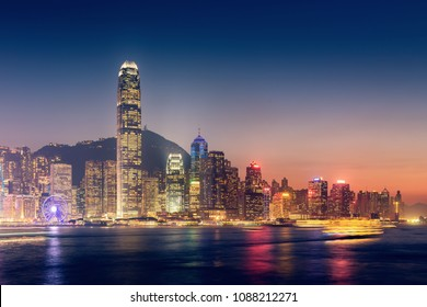 Skyscrapers tower and business downtown of Hong Kong., Victoria view point.