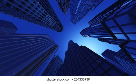 Skyscrapers, view from below in the night.