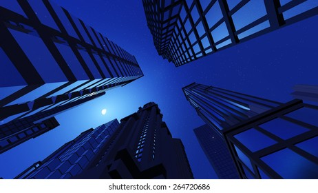 Skyscrapers, view from below in the night. Moon in the sky.