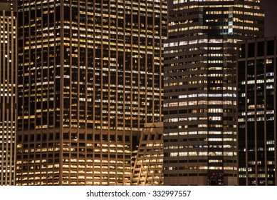 skyscrapers windows at the night in New York City