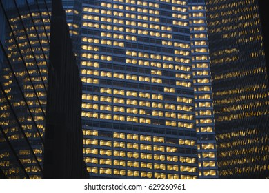 Skyscrapers windows at nigth.