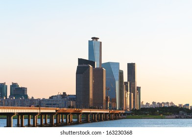 The skyscrapers of Yeouido in Seoul from across the Han River.