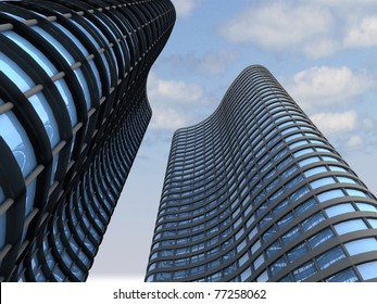 Skyscrapers.3d render.