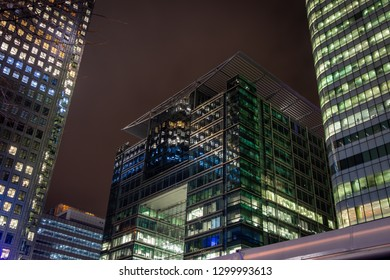 Skyscrapper in the business quarter in the night, London