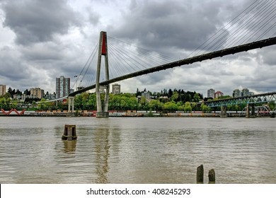 skytrain bridge linking Surrey and New Westminster cities in BC