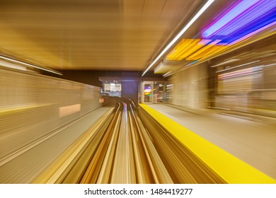 skytrain motion blur when the train is moving into a station