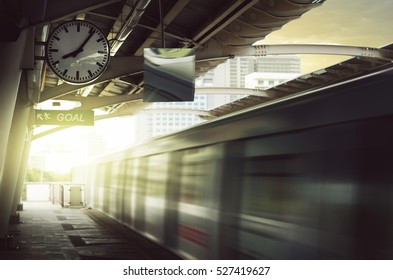 Skytrain Public Transportation Rush City Life Concept