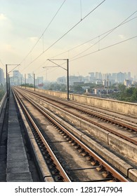 Skytrain track platform or Railway track for skytrain in Bangkok, Thailand,Which railway consist of rail track and conductor rail or third rail.