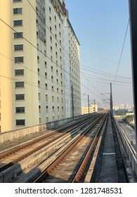 Skytrain track platform or Railway track for skytrain in Bangkok, Thailand,Which railway consist of rail track and conductor rail or third rail. vertical photography