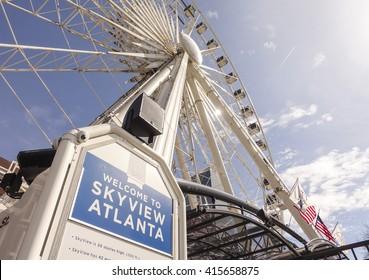 Skyview Atlanta - big Ferris Wheel at Centennial Olympic Park - ATLANTA, GEORGIA - APRIL 20, 2016