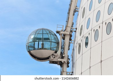 Skyview of Ericsson Globe, Stockholm, Sweden - 26 Jun 2018: Skyview is an exterior inclined elevator of Ericsson Globe.