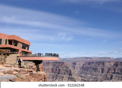 Skywalk: The floor of bridge is made of glass and suspended four thousand feet above the Colorado River on the edge of the Grand Canyon West.