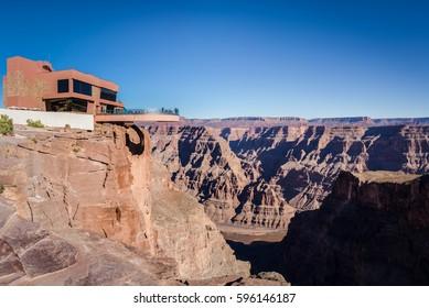 Skywalk glass observation bridge at Grand Canyon West Rim - Arizona, USA