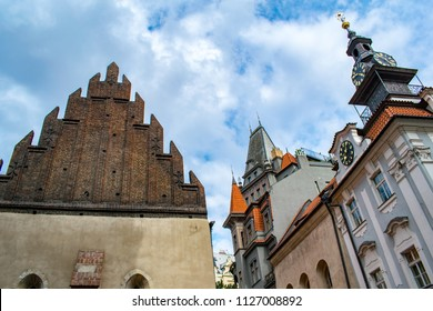 A skyward view at Old-New Synagogue and the Jewish Town Hall in Prague's Jewish quarter of Josefov