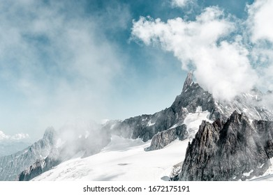 Skyway Mont Blanc (Monte Bianco) view of the glacier with snow and mountains against sky