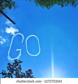 """Skywriting the word """"GO"""""""