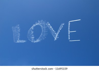 Skywriting the word Love on a clear day