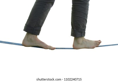 slackline-walking isolated on white