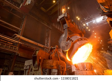 slag discharge at the factory. metallurgy