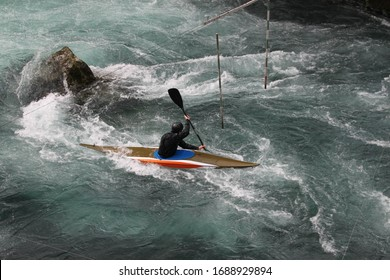 Slalom is one of the disciplines of canoeing, practiced in white water