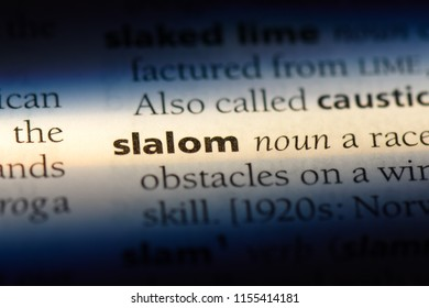 slalom word in a dictionary. slalom concept.
