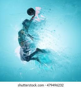 slam dunk, basketball; 3d illustration