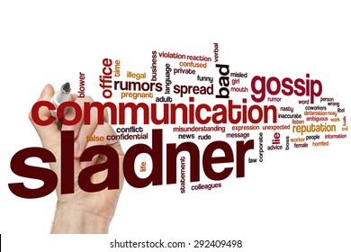 Slander word cloud concept with gossip news related tags