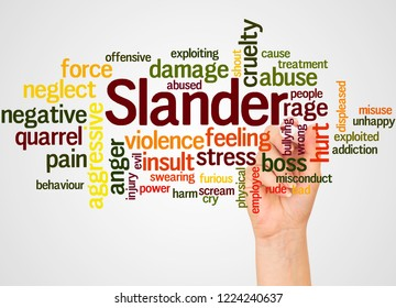Slander word cloud and hand with marker concept on white background.